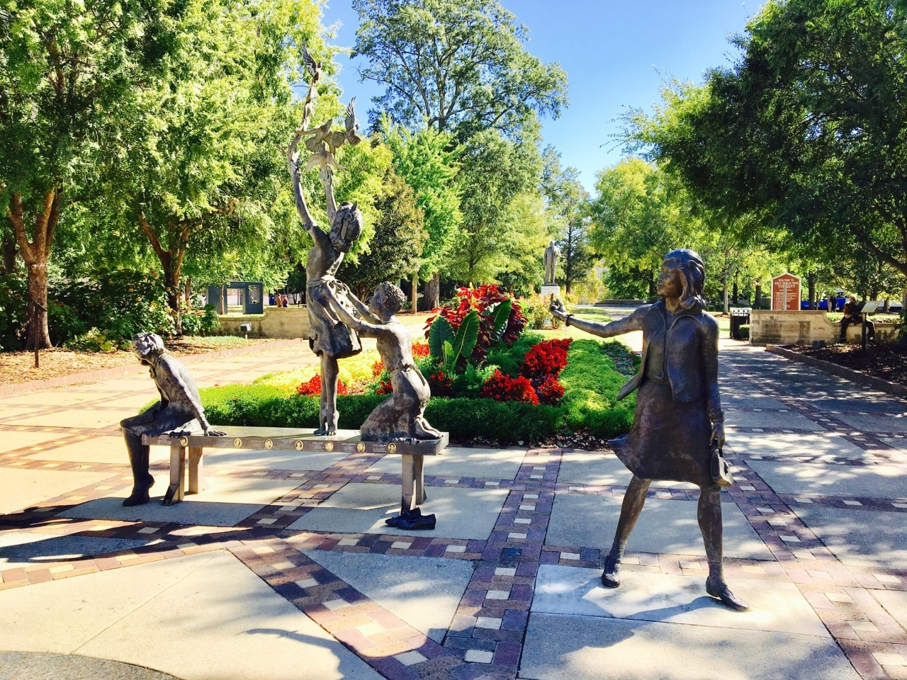 Four Little Girls Statue At The Entrance Of Kelly Ingram Park - New York Times Civil Rights Tour