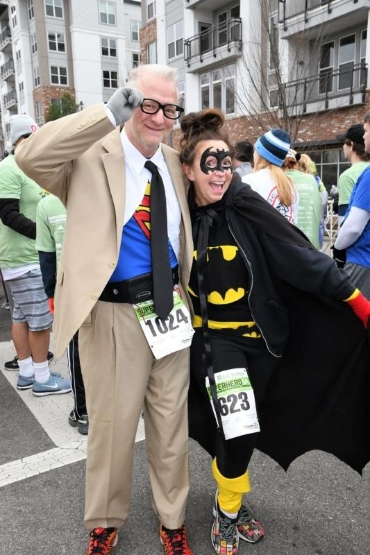 Super hero runners at the Mercedes-Benz Marathon