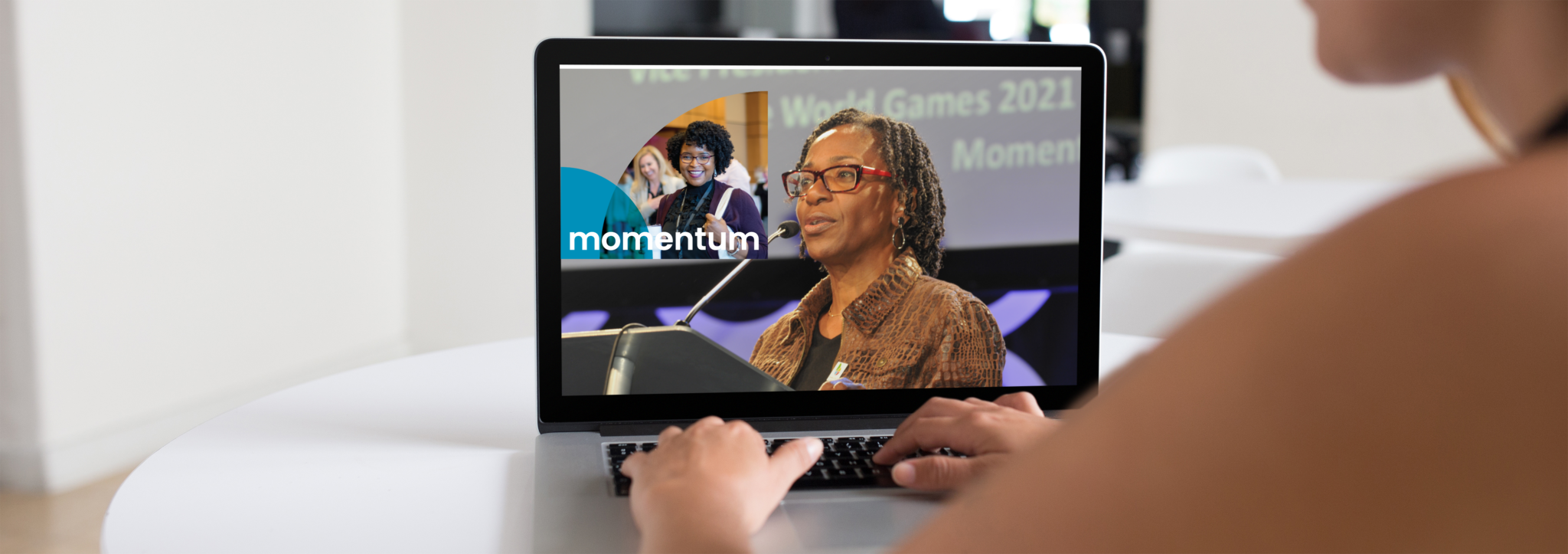 Woman At A Computer For Focus 2021