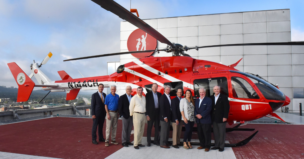 Generous donation from Monday Morning Quarterback Club To Children's of Alabama—about their new helicopter